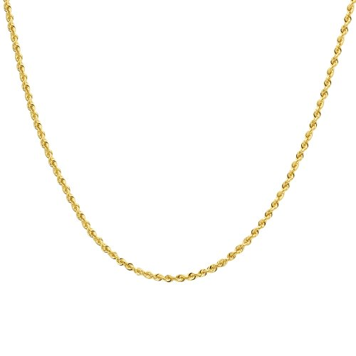 Duragold 14k Yellow Gold Hollow Diamond-Cut Rope Chain Necklace (2.5mm), 24""