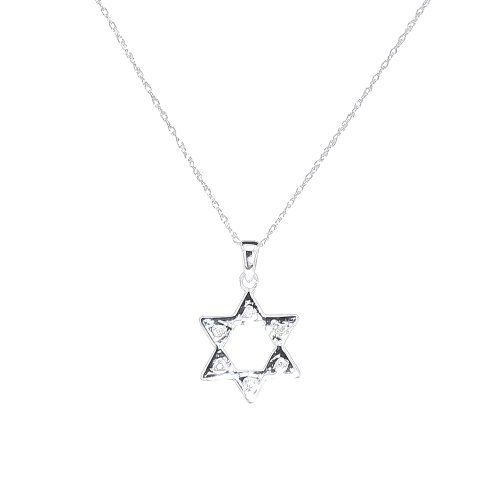 10k White Gold Diamond Accent Star of David Pendant Necklace (.020 cttw, I-J Color, I1-I2 Clarity), 18
