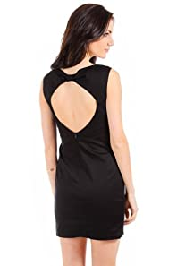 Timing Open Back Scoop Neck Dress in Black