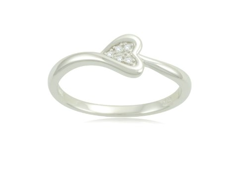 Sterling Silver Heart Diamond Ring (0.02 cttw, I-J Color, I2-I3 Clarity), Size 6