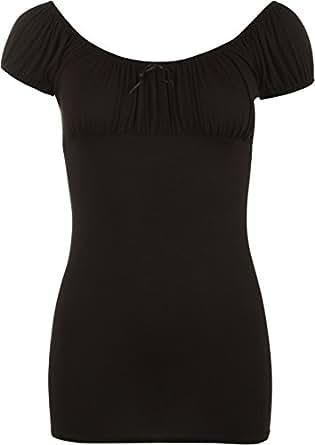 Ladies Gypsy Stretch Elasticated Womens Top - Black - 8 / 10