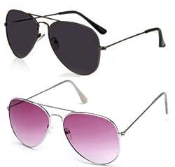 Magjons Combo of Black & Lite Purple Aviator Sunglasses Set Of 2 (With Box)