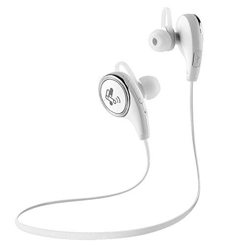 QY8 ワイヤレスイヤホン SoundPEATS 黒白2色 Bluetooth 4.1 apt-Xコーデック採用 高音質 Bluetooth イヤホン 防水防滴 スポーツ仕様 ワイヤレスヘッドホン ハンズフリー通話 CVC6.0 ノイズキャンセリング搭載 マイク内蔵 Bluetooth ヘッドセット【メーカー直販/1年保証付】 (ホワイト)