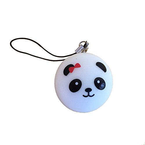 panda bear bun with red bow squishy cellphone charm - 1
