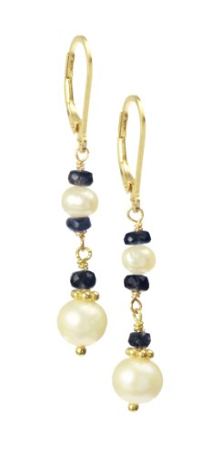 Sapphire Rondelle and White Potato Freshwater Pearl with Gold Plated Sterling Silver Chain, Rondelles and Leverbacks Drop Earrings