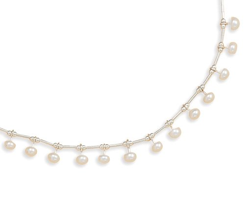 Liquid Silver with 15 White Cultured Freshwater Pearls Necklace