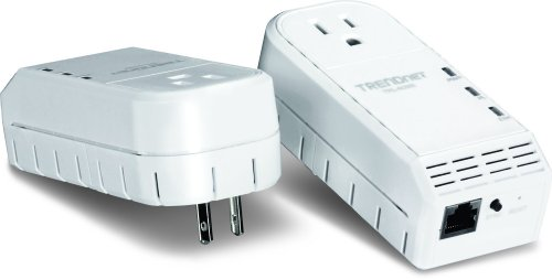 TRENDnet 500 Mbps Powerline Ethernet AV Adapter Kit with Bonus Outlet TPL-402E2K (White)