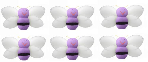 "Bumblebee Decor 2"" Purple Mini (X-Small) Smiling Bumble Bees 6Pc Set. Decorate Baby Nursery Bedroom, Girls Room Ceiling Wall Decor, Wedding Birthday Party, Bridal Baby Shower. Bee Bumblebees Decoration Crafts, Scrapbooks, Invitations, Parties front-1028803"