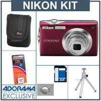 Nikon Coolpix S4000 Digital Camera Kit, - Red - with 8GB SD Memory Card, Camera Case, Table Top Tripod, Spare Rechargeable Li-ion Battery EN-EL10, 2 Year Extended Service Coverage