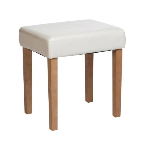 Milano Upholstered Stool With Ivory Faux Leather