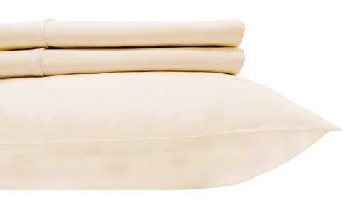 """Royal'S Solid Ivory 800-Thread-Count 2Pc / Pair Standard / Queen Size 20"""" X 30"""" Pillowcases 100% Egyptian Cotton, Sateen, Pillow Cases front-518268"""