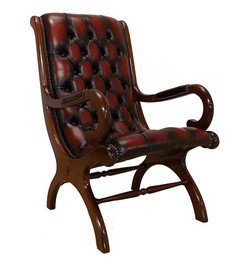 Chesterfield York Slipper Chair Antique Oxblood Leather