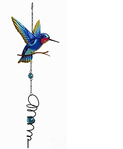 Continental Art Center Hummingbird Spinner Wind chime, 8.5 by 2 by 27-Inch, Blue