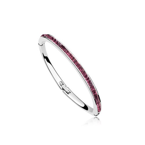 Dreamslink Fashion Jewellery 18K White Gold Plated Bangle Bracelet Purple Color Swarovski Elements Austria Crystal Shinning Slim Bangle Bracelet 94601