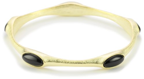 SHEILA FAJL Black Onyx 18k Gold-Plated Bangle