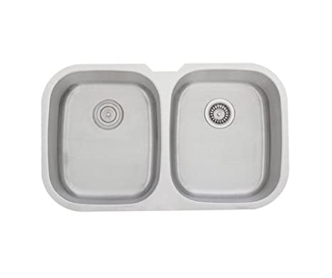 34 Inch Stainless Steel Undermount 50/50 Double Bowl Kitchen Sink - 16 Gauge