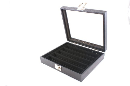 Display Case with Glass Lid & Clasp + Black 5 Compartment Insert