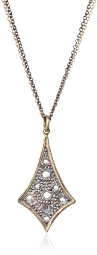Moritz-Glik-New-Wave-18K-Gold-and-Oxidized-Silver-Rose-Cut-Diamond-Freeform-Pendant-Necklace