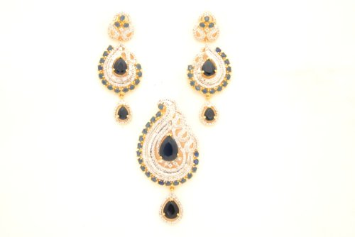 Fashion Balika Fashion Jewelry Gold-Plated Pendant Set For Women Pink-BFJER124 (Multicolor)