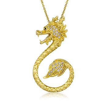 .20 ct. t.w. Lucky Dragon Pendant Necklace In Vermeil. 18″