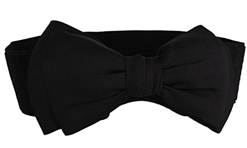 SportsWell Women's Fashionable Bowknot Wide Belt Girls Lady Stretch Cinch Dress Waistband Black