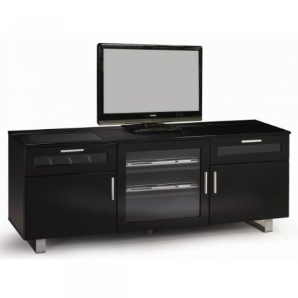 Image of 700672 Contemporary TV Stand with High Gloss Black Finish - Coaster (B00757ZGKU)