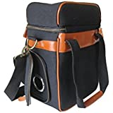 Vine & Dine Picnic Bag By Juggage - Carry Bag Of Wine or Wine Bottles Along With Your Food - Stylish Canvas Leather Insulated Cooler Bag - Perfect Wine Bag For Wine Enthusiast - Grommet-Reinforced Hole for Boxed Wine Bag