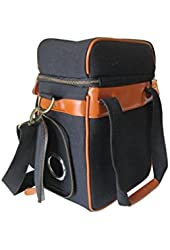 Vine & Dine Cooler Bag By Juggage - Carry Bag Of Wine or Wine Bottles Along With Your Food - Stylish Canvas Leather Insulated Picnic Bag - Perfect Wine Bag For Wine Enthusiast - Grommet-Reinforced Hole for Boxed Wine Bag