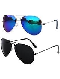 Sheomy Unisex Combo Pack Of Aviator Sunglasses For Men And Women - Mirrored Sunglasses ( Black Black - Mercury...