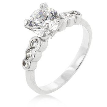White Gold Rhodium Bonded Anniversary Ring with Prong Set Clear CZ and Clear CZ Accents in Silvertone, 6
