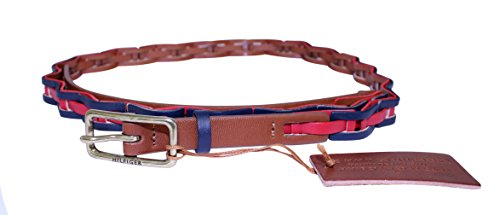 Tommy Hilfiger Womens Link Braid Belt Large Brown Red Navy (Belt Tommy Hilfiger Women compare prices)