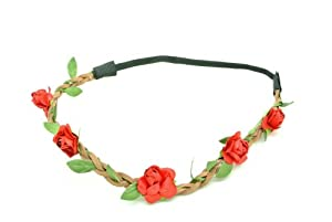 Shop4(TM) Lady's Silk Floral Elastic Headpieces , Headband-Red Rose