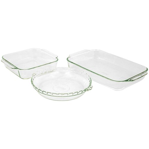 Pyrex Bakeware 3-Piece Baking Dish Set, Clear