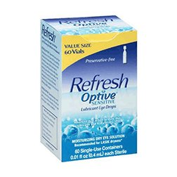 Refresh Optive Lubricant Eye Drops Single-Use Vials, 60 Count