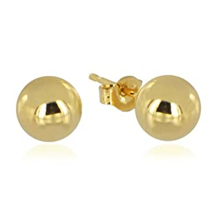 14k Real Yellow Gold 8mm (5/16 Inch) Ball Stud Earrings