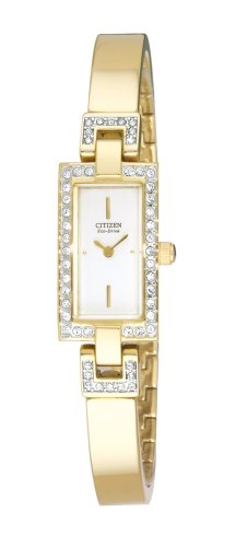 Citizen Women's EG2382-51A Eco-Drive Silhouette Crystal Accented Gold-Tone Bangle Watch