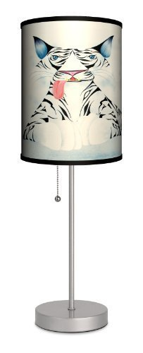 """Featured Artists - Carlos Ramos """"White Tiger"""" Sport Silver Lamp by LAMP IN A BOX, LLC."""