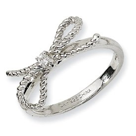 Genuine IceCarats Designer Jewelry Gift Sterling Silver Fancy Bow Cz Ring Size 6.00