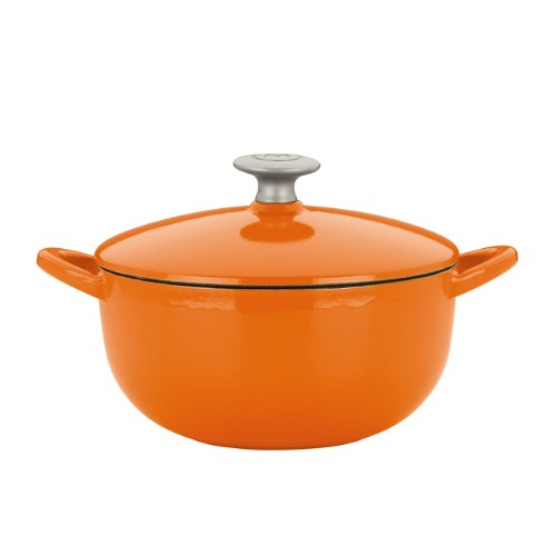 Mario Batali 827683 Enameled Cast Iron Soup Pot, 3-Quart, Persimmon