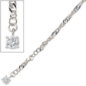 Jewelry - Women - anklet - 925 / - Silver 1 Zirconia, about 25 cm long