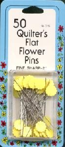 Quilter's Flat Flower Pins 50/Pkg