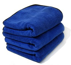 MONSTER MICROFIBER EXTREME THICKNESS Microfiber Towel W/Black Silk Edges [16x16] (3 Pack)