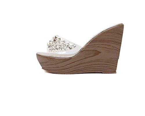 Pantofole donna Xia Shui diamante con la suola spessa piattaforma scarpe zeppe tacco alto trasparente infradito sandali , gold , 39