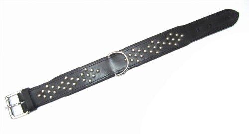 Heim 3886458 Halsband mit Zierbeschlag, 35 mm breit, 45 cm lang, schwarz