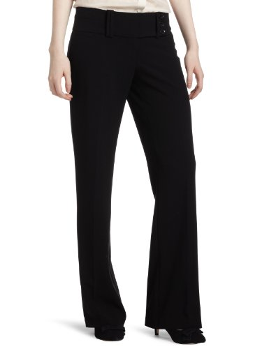 My Michelle Juniors Wide Waist Band 3 Button Tab Pant, Black, 13