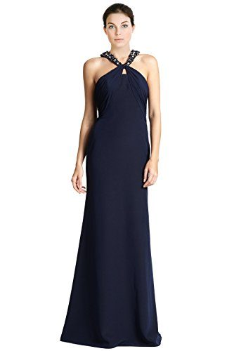 3478ab6a1f9 ML Monique Lhuillier Jeweled Knot Neckline Evening Gown Dress