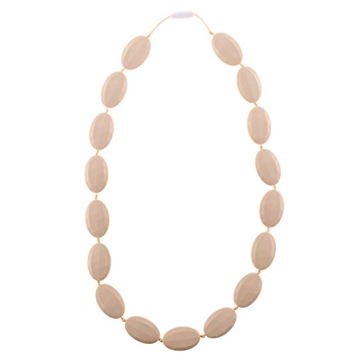 Chew-Choos - 'Pat-a-Cake' Silicone Teething Necklace - Modern Chic Baby Teether (Navajo White)