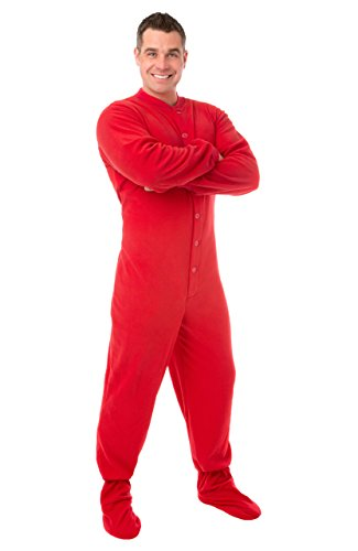 Big Feet Pajama Co. Red (201) Micro-Polar Fleece Adult Footed Pajamas With Drop Seat (Xs) front-1009101