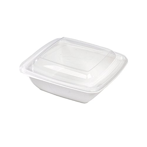 """PacknWood Plastic Lid for 7.7"""" x 7.7"""" Square Sugarcane Salad Bowl, Clear (Pack of 300)"""