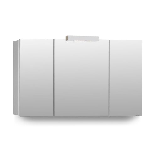 Mebasa MYB904511T Telia 3D-Effect Bathroom Cabinet with 3 Doors and 6 Glass Shelves, Soft Closing and Built-In Lighting, Delivered Pre-Assembled